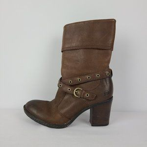 Born Brown Leather Ankle Boots Size 6